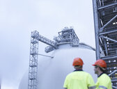 Workers at biomass facility, low angle view - CUF38931