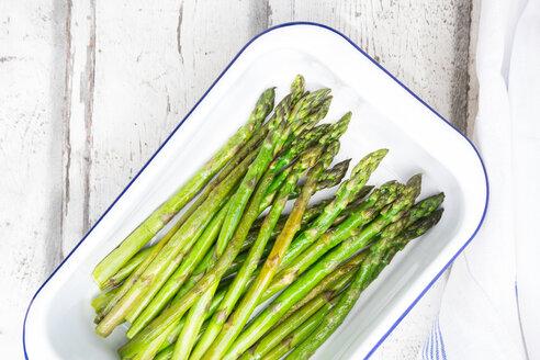 Boiled organic green asparagus in souffle dish - LVF07224