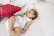 Baby girl lying on bed looking at soft toy - CUF39065