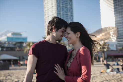 Happy affectionate young couple on the beach - MAUF01465