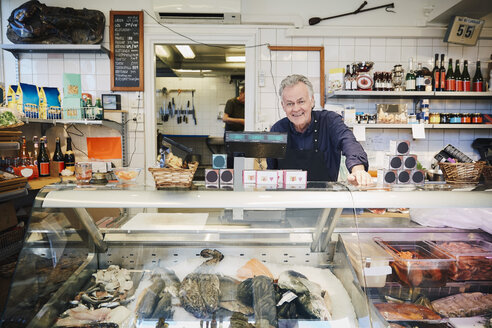 Portrait of smiling male owner standing at counter in store - MASF08026
