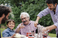 Boy and grandfather at family meal - CUF39832