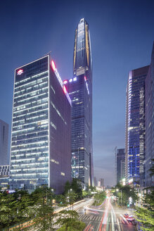 China, Shenzhen, lighted office towers by night - SPP00042