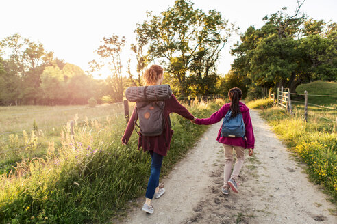 Rear view of mother and daughter holding hands while hiking on dirt road in forest - MASF08422