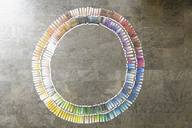 Circle of paint swatches on floor - CUF40297