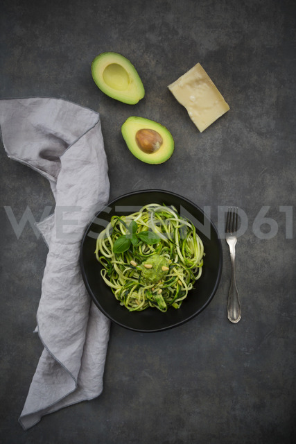 Bowl of Zoodels with avocado basil pesto - LVF07250