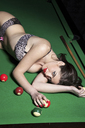 Woman in lingerie on pool table - CUF40934