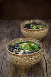 Japanese miso soup with sugar peas, shitake mushrooms, tofu and mung sprouts - LVF07273