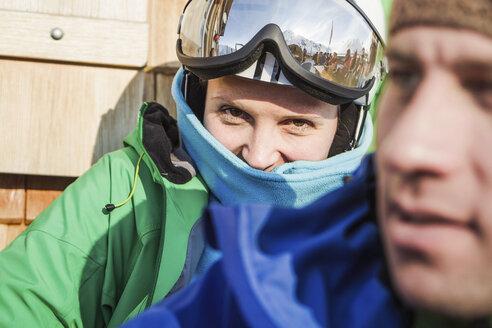 Portrait of young female skier, Warth, Vorarlberg, Austria - CUF42160