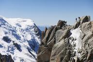 Mountaineers on summit, Chamonix, Haute Savoie, France - CUF42373