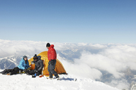 People camping in mountains, Chamonix, France - CUF42388