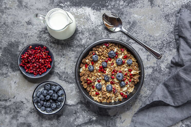 Bowl of muesli with blueberries and pomegranate seed - SARF03839