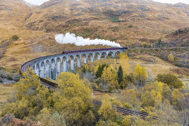 UK, Scotland, Highlands, Glenfinnan viaduct with a steam train passing over it - WPEF00690