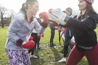 Women boxing in park - CAIF21171