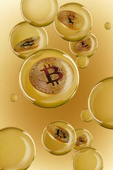 Bitcoins in golden bubbles - CAIF21204