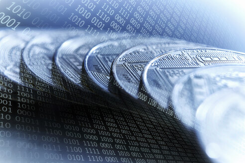 Bitcoins on blue binary code background - CAIF21222