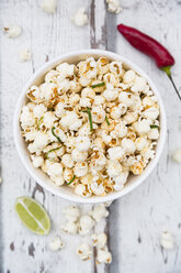 Bowl of popcorn flavoured with chili and lime - LVF07313