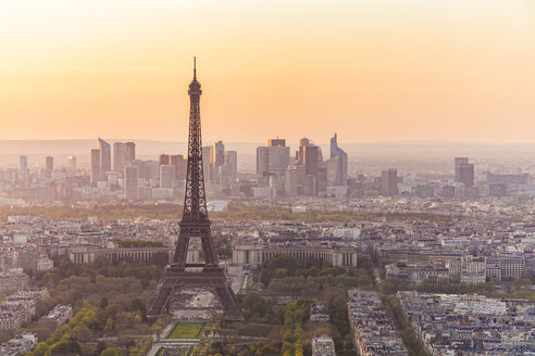 France, Paris, City with Eiffel Tower at sunset - WDF04735
