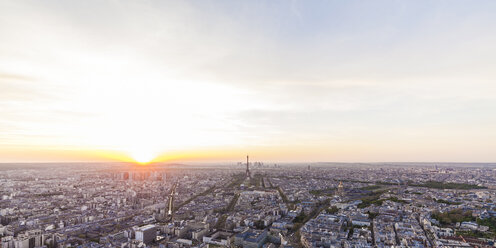 France, Paris, City with Eiffel Tower at sunset - WDF04738
