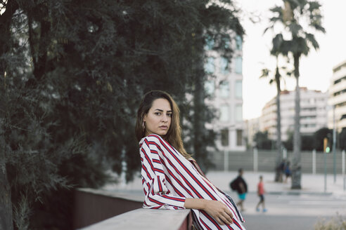 Portrait of woman wearing striped shirt - AFVF00859