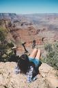USA, Arizona, Grand Canyon National Park, Grand Canyon, back view of woman looking at view - GEMF02187