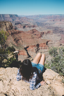 USA, Arizona, Grand Canyon National Park, Grand Canyon, back view of woman looking at view - GEMF02187