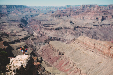USA, Arizona, Grand Canyon National Park, Grand Canyon, back view of woman looking at view - GEM02196