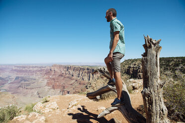 USA, Arizona, Grand Canyon National Park, Grand Canyon, man looking at view - GEMF02205