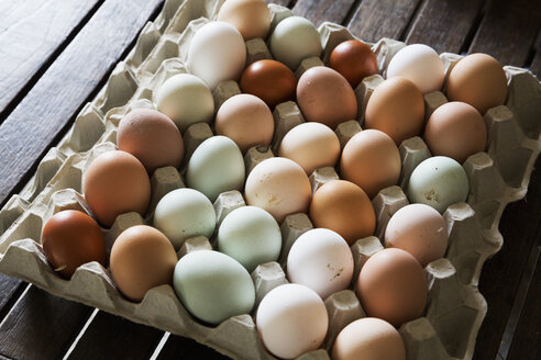 A tray of fresh organic eggs, in a variety of colours. - MINF01606