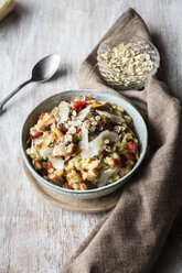 Bowl of porridge with bell pepper, champignon and parmesan - EVGF03375