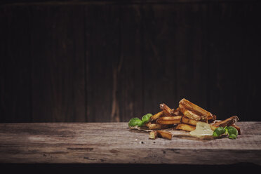 Hand made french fries with mayonnaise on wood - NAF00111