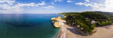 Greece, Pelion, Pagasetic Gulf, Sound of Trikeri, Pelion, Aerial view of rocky coast, beach - AMF05844