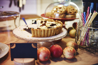 Cafe, Apple pie on the cake stand - ABIF00728