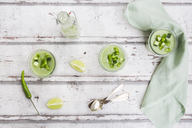 Three glasses of homemade green Gazpacho - LVF07335