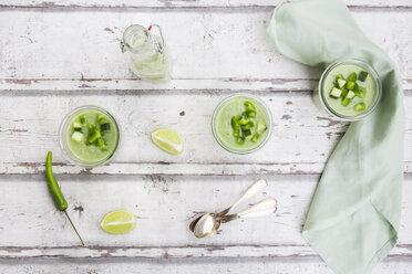 Three glasses of homemade green Gazpacho - LVF07335