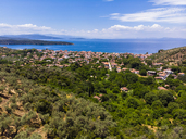 Greece, Aegean Sea, Aerial view of Bay of Milina - AMF05887