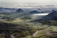 Iceland, South West, View from Laugavegur trail from Landmannalaugar to Porsmoerk - DMOF00061