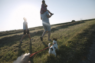 Familiy walking with Jack Russel Terrier on a field at sunset - KMKF00423
