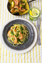Shrimps with spaghetti on tin plate - GIOF03999