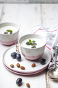 Ajo Blanco, white gazpacho, spanish cold soup, almonds and blue grapes - SBDF03703