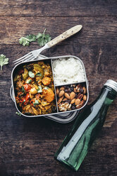 Take Away Food, tamarind vegetable stew, carrot, zucchini, bell pepper, eggplant, onion, tomato and falafel balls, rice and nuts with raisins - IPF00469