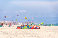 Spain, Andalucia, Tarifa, windsurfers and kite surfers on the beach - SMAF01083
