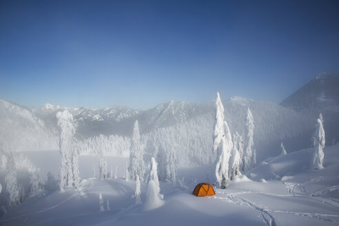A bright orange tent among snow covered trees, on a snowy ridge overlooking a mountain in the distance. - MINF02936