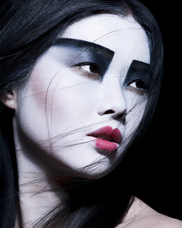 Young woman with dramatic makeup, black eyeshadow - ISF17986