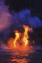 Lava flow impacting sea at dusk, Kilauea volcano, Hawaii - ISF18214