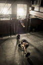 Two young adults working out in gym - ISF18459