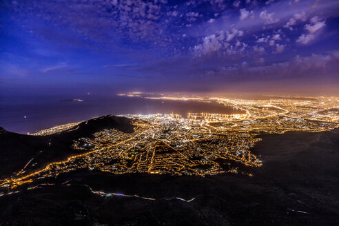 South Africa, Cape Town, illuminated city at night - DAWF00688