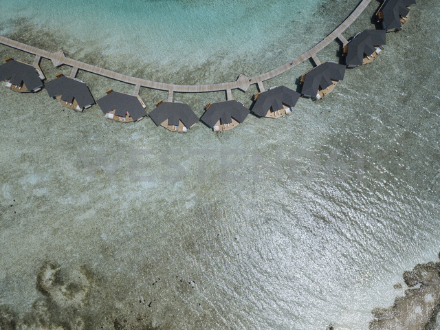 Maldives, Aerial view of water bungalows - KNTF01164