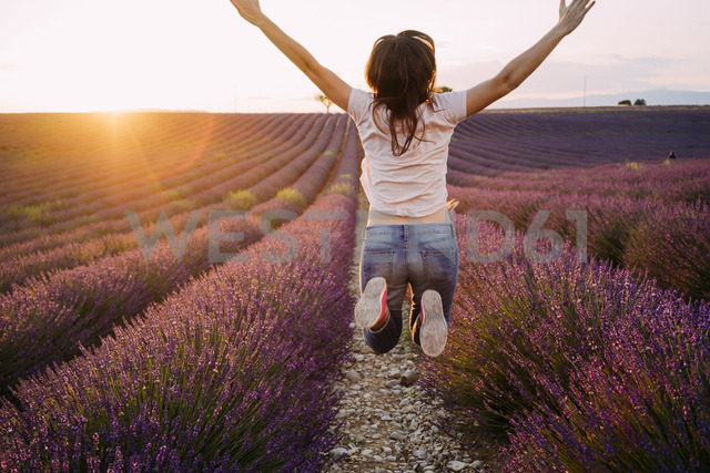 France, Valensole, back view of happy woman jumping in the air in front of lavender field at sunset - GEMF02231 - Gemma Ferrando/Westend61