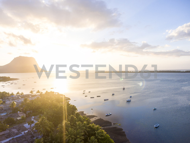 Mauritius, La Gaulette, Aerial view to Le Morne Brabant at sunset - MMAF00434